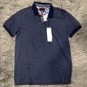 Polka Dot Polo T-Shirt Denim&Flower Size L Men's